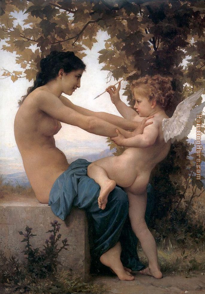 William Bouguereau Young Girl Defending herself against Cupid Art Painting