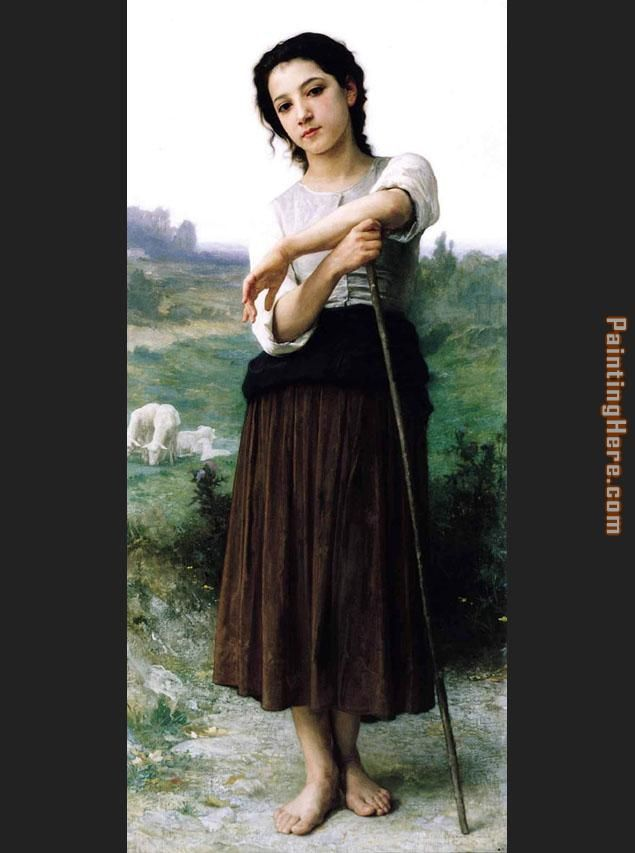 Young Shepherdess Standing painting - William Bouguereau Young Shepherdess Standing art painting