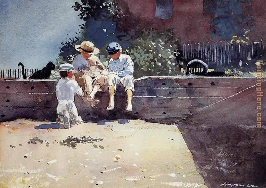 Boys and Kitten painting - Winslow Homer Boys and Kitten art painting