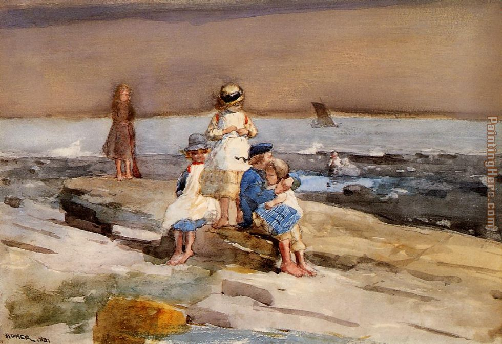 Children on the Beach painting - Winslow Homer Children on the Beach art painting