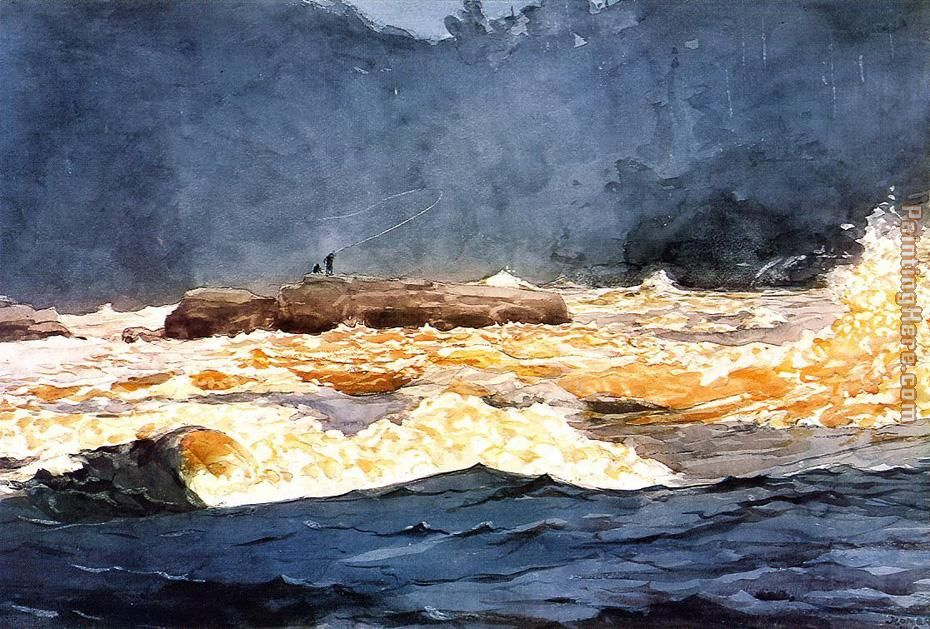 Winslow Homer Fishing the Rapids Saguenay Art Painting