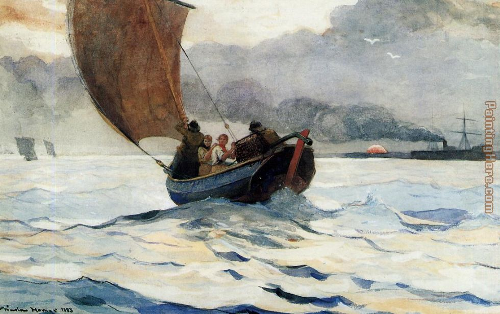 Returning Fishing Boats painting - Winslow Homer Returning Fishing Boats art painting
