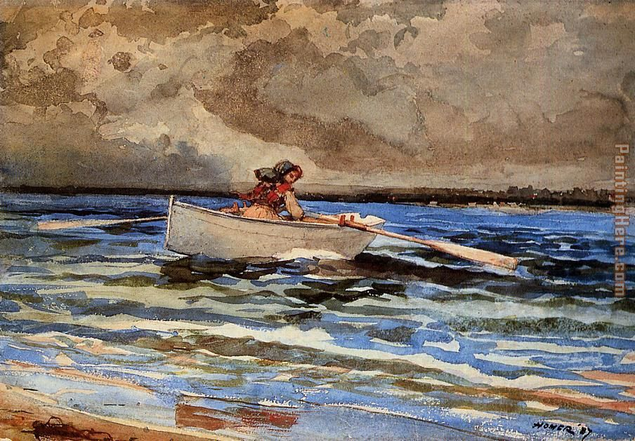 Rowing at Prout's Neck painting - Winslow Homer Rowing at Prout's Neck art painting