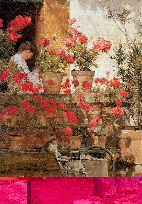 Geraniums painting - childe hassam Geraniums art painting