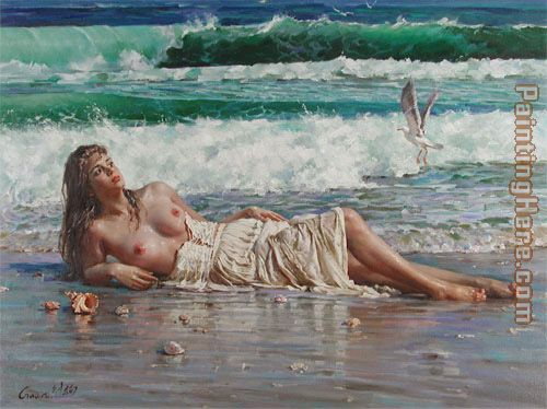 nude on the beach painting - Guan zeju nude on the beach art painting