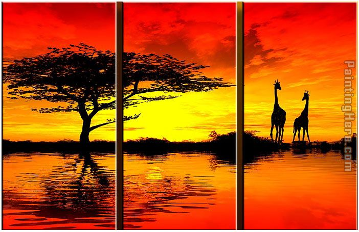 landscape AFRICAN SUNSET II Stretched Canvas Painting
