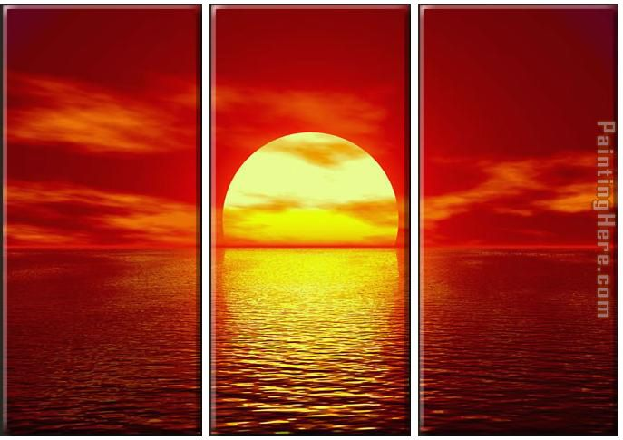 landscape Red Sunset Stretched Canvas Painting