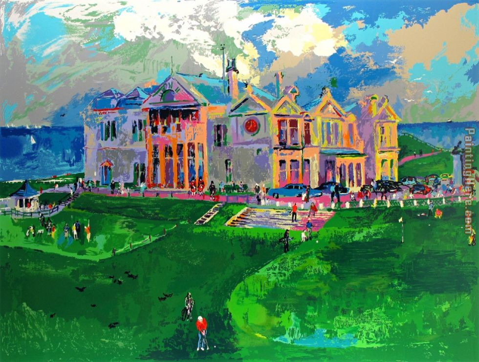 Leroy Neiman Clubhouse at Old St. Andrews Art Painting