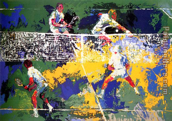 Doubles painting - Leroy Neiman Doubles art painting