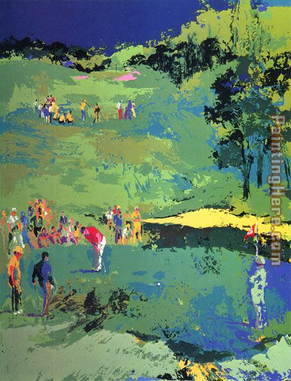 Golf Landscape painting - Leroy Neiman Golf Landscape art painting