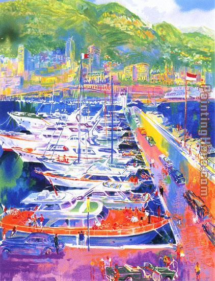 Harbor at Monaco painting - Leroy Neiman Harbor at Monaco art painting