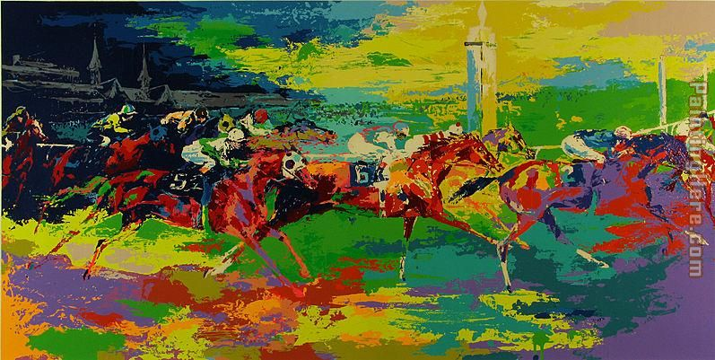 Kentucky Derby painting - Leroy Neiman Kentucky Derby art painting