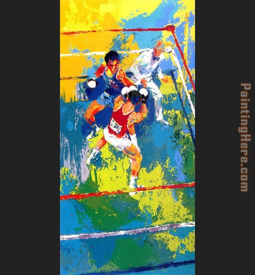 Leroy Neiman Olympic Boxing Moscow 1980 Art Painting