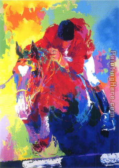 Olympic Jumper painting - Leroy Neiman Olympic Jumper art painting