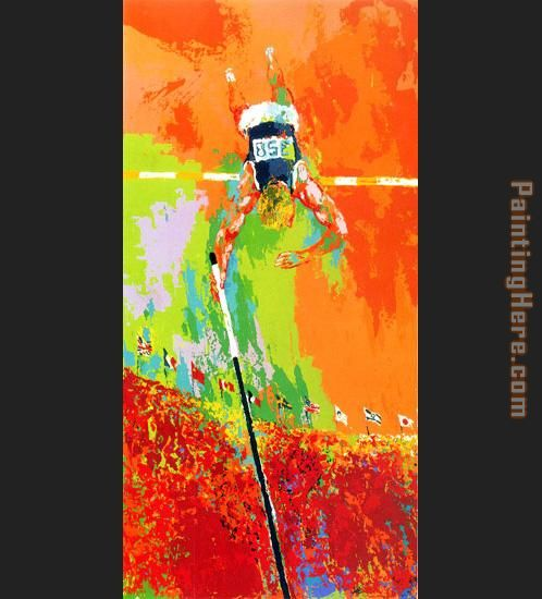 Olympic Pole Vaulting painting - Leroy Neiman Olympic Pole Vaulting art painting