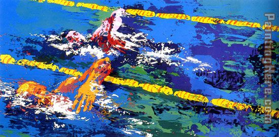 Olympic Swimmers painting - Leroy Neiman Olympic Swimmers art painting