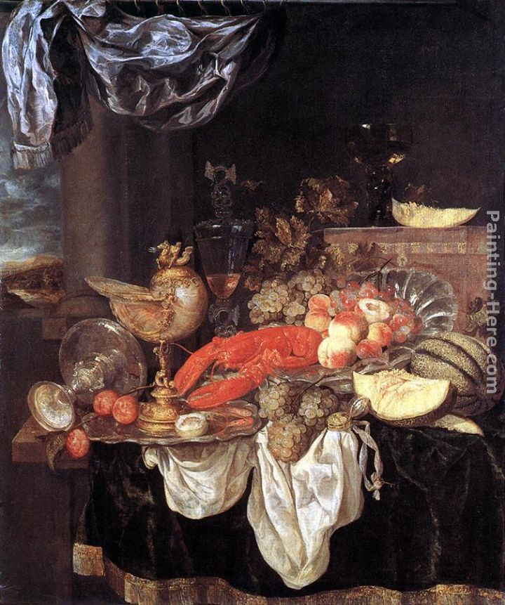Large Still-life with Lobster painting - Abraham van Beyeren Large Still-life with Lobster art painting