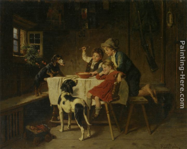 Dinner Time painting - Adolf Eberle Dinner Time art painting