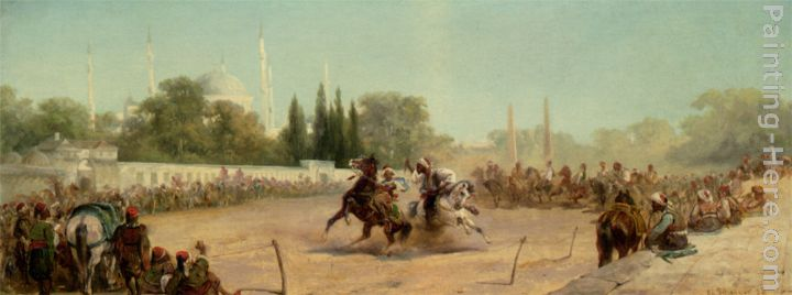 A Horse Race in the Hippodrome painting - Adolf Schreyer A Horse Race in the Hippodrome art painting