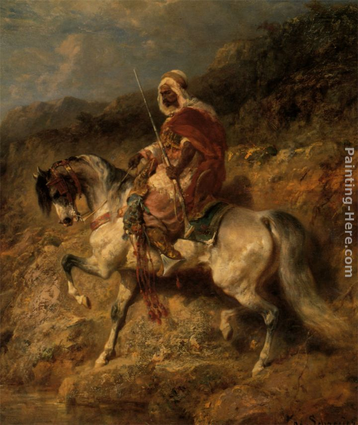 An Arab Horseman on the March painting - Adolf Schreyer An Arab Horseman on the March art painting