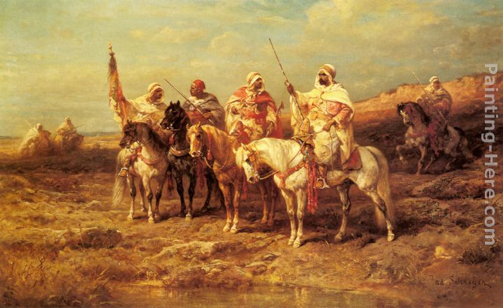 Arab Horsemen by a Watering Hole painting - Adolf Schreyer Arab Horsemen by a Watering Hole art painting