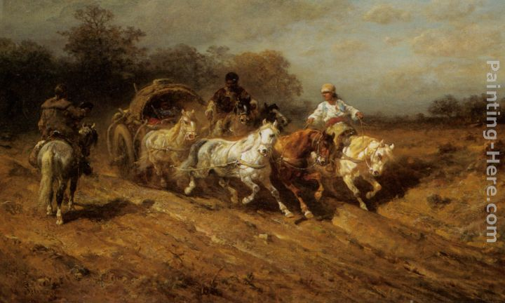 Caravan on the open Road painting - Adolf Schreyer Caravan on the open Road art painting