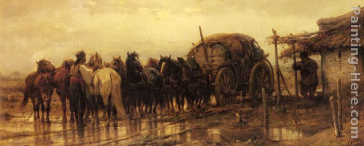 Adolf Schreyer Hitching Horses to the Wagon Art Painting