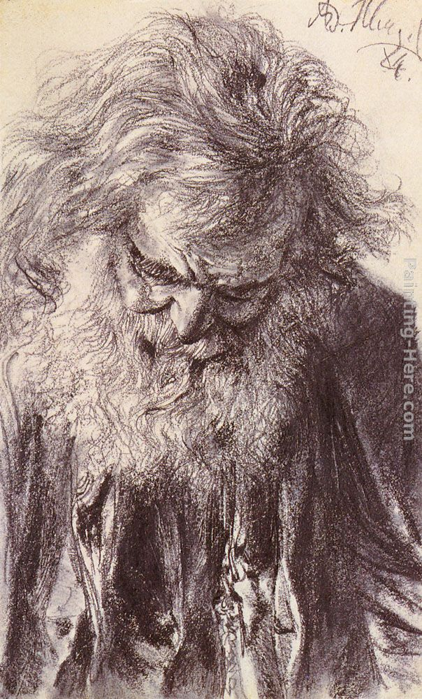 Portrait of an Old Man painting - Adolph von Menzel Portrait of an Old Man art painting