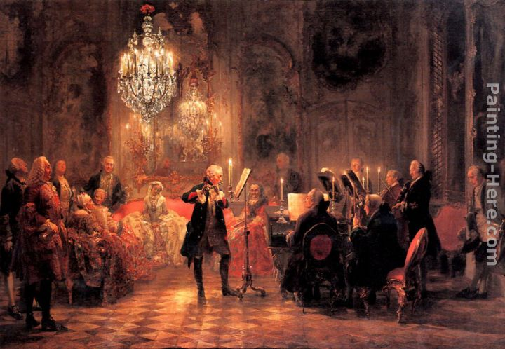 The Flute Concert painting - Adolph von Menzel The Flute Concert art painting