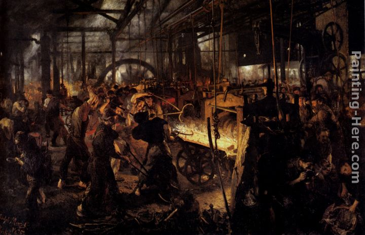 The Foundry painting - Adolph von Menzel The Foundry art painting