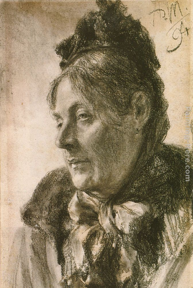 The Head of a Woman painting - Adolph von Menzel The Head of a Woman art painting