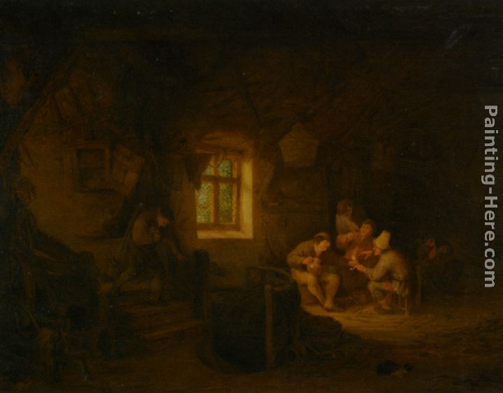 A Tavern Interior with Peasants Drinking Beneath a Window painting - Adriaen van Ostade A Tavern Interior with Peasants Drinking Beneath a Window art painting