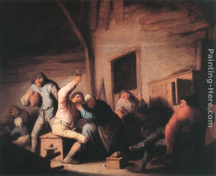 Carousing Peasants in a Tavern painting - Adriaen van Ostade Carousing Peasants in a Tavern art painting