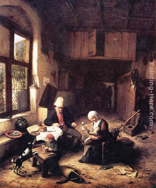 Inside A Peasants Cottage Painting