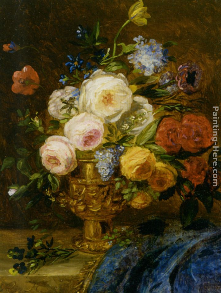 A Still Life with Flowers in a Golden Vase painting - Adriana-Johanna Haanen A Still Life with Flowers in a Golden Vase art painting