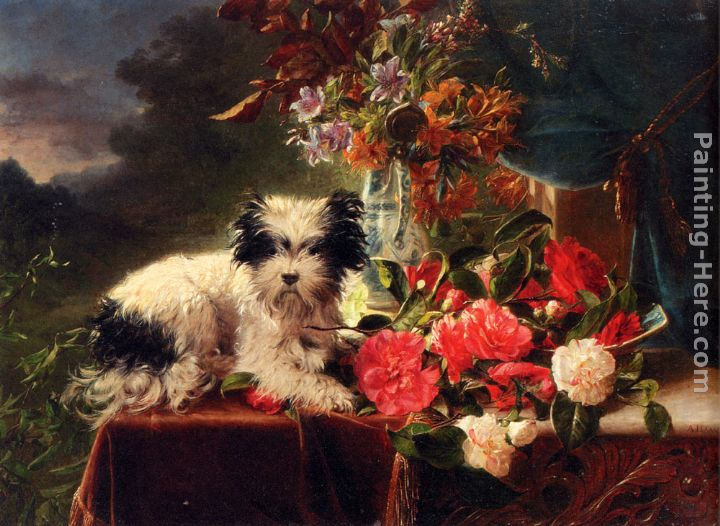 Camellias And A Terrier On A Console painting - Adriana-Johanna Haanen Camellias And A Terrier On A Console art painting