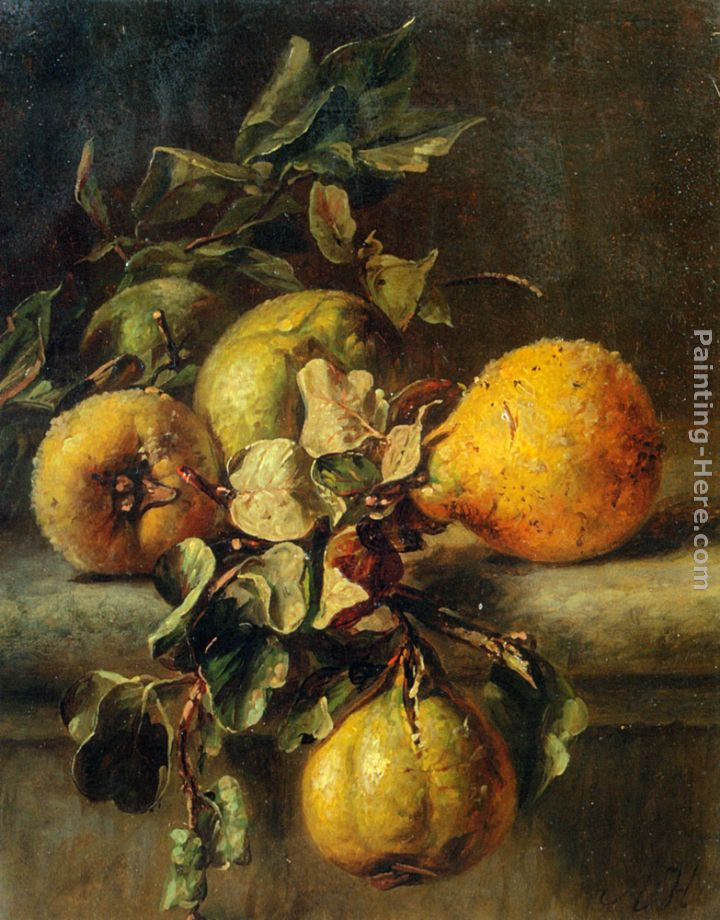 Quinces on a Ledge painting - Adriana-Johanna Haanen Quinces on a Ledge art painting