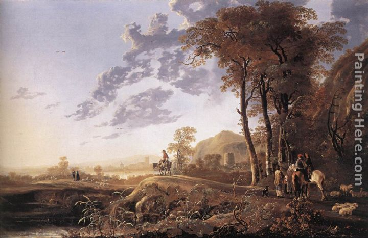 Evening Landscape with Horsemen and Shepherds painting - Aelbert Cuyp Evening Landscape with Horsemen and Shepherds art painting