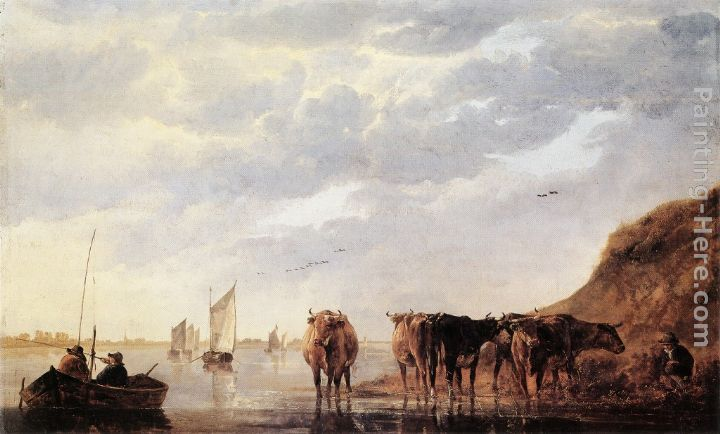 Aelbert Cuyp Herdsman with Five Cows by a River Art Painting