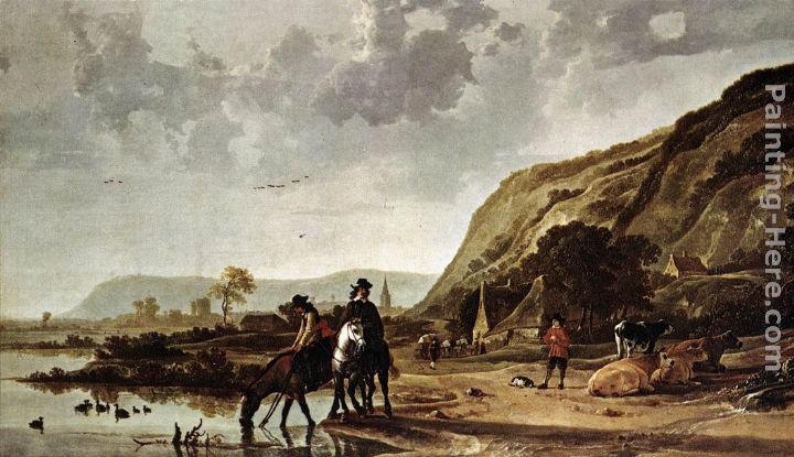 Large River Landscape with Horsemen painting - Aelbert Cuyp Large River Landscape with Horsemen art painting