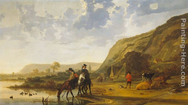 River Landscape with Riders painting - Aelbert Cuyp River Landscape with Riders art painting