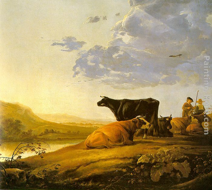 Young Herdsman with Cows painting - Aelbert Cuyp Young Herdsman with Cows art painting
