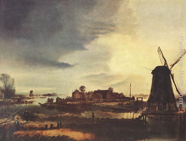 Landscape with Windmill painting - Aert van der Neer Landscape with Windmill art painting