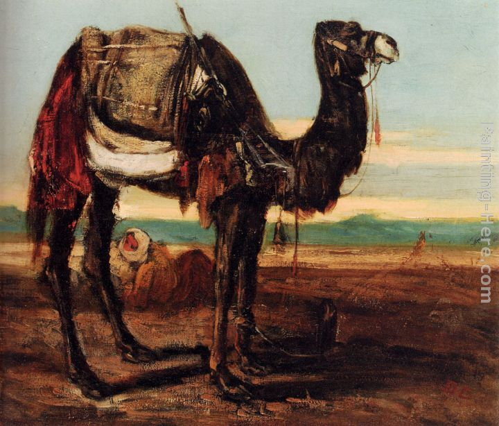 A Bedouin And A Camel Resting In A Desert Landscape painting - Alexandre-Gabriel Decamps A Bedouin And A Camel Resting In A Desert Landscape art painting