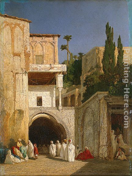 Before a Mosque (Cairo) painting - Alexandre-Gabriel Decamps Before a Mosque (Cairo) art painting