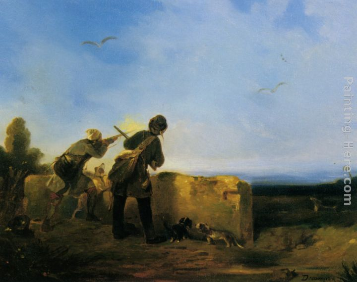 Snipe Shooting painting - Alexandre-Gabriel Decamps Snipe Shooting art painting