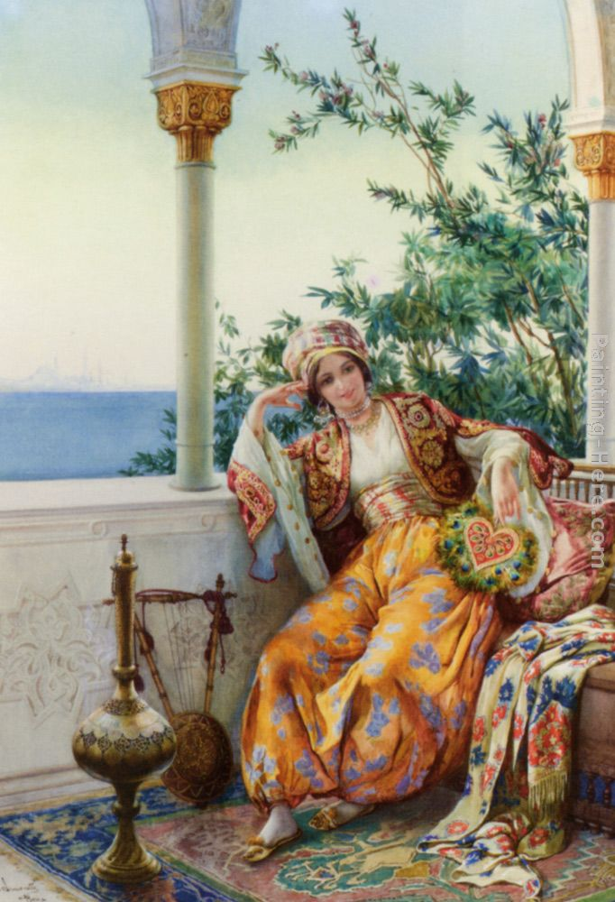 Amedeo Momo Simonetti A Turkish Beauty Resting on a Terrace painting  anysize 50% off - A Turkish Beauty Resting on a Terrace painting for sale