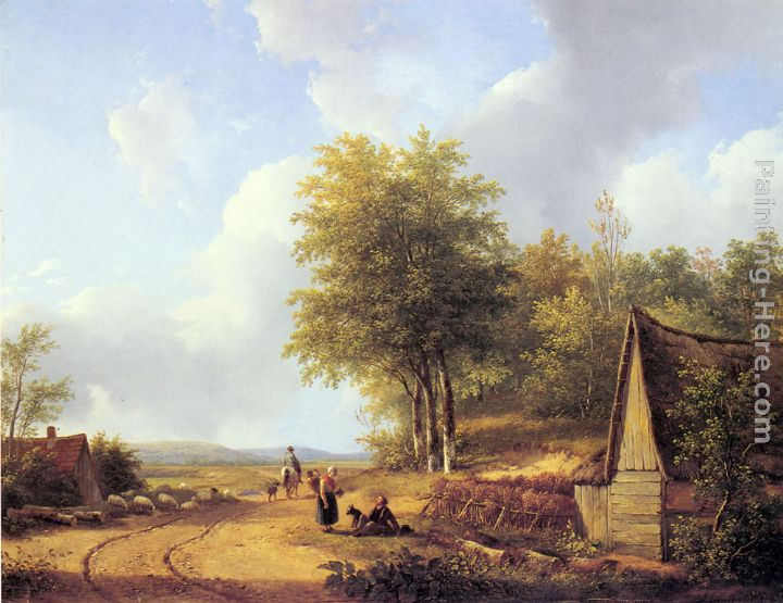 The Country Road painting - Andreas Schelfhout The Country Road art painting