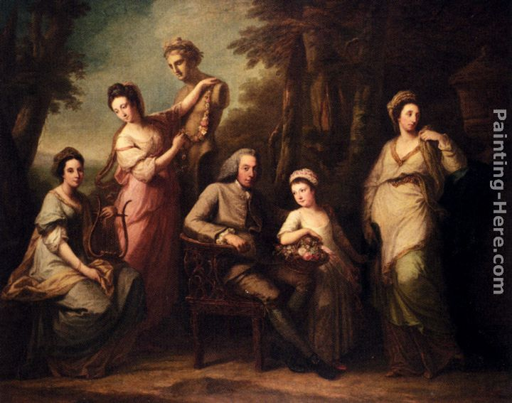 Portrait Of Philip Tisdal With His Wife And Family painting - Angelica Kauffmann Portrait Of Philip Tisdal With His Wife And Family art painting