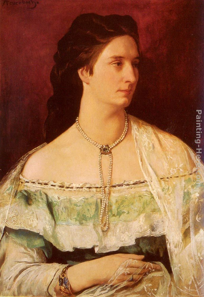 Anselm Friedrich Feuerbach Portrait Of A Lady Wearing A Pearl Necklace Art Painting
